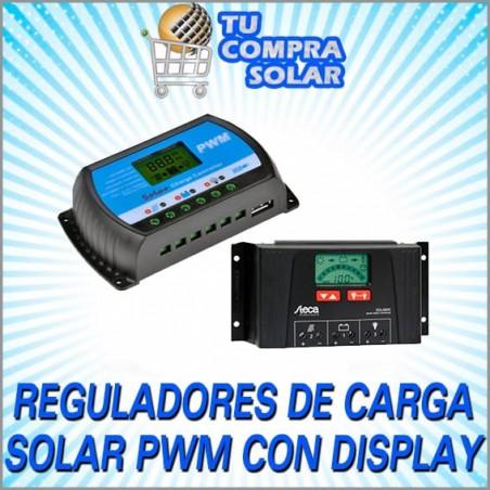 Reguladores de carga solar PWM con Display